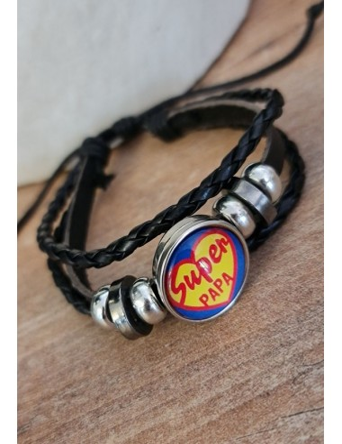 """Bracelet """"Super papa"""" noir..."""