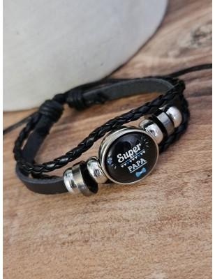 """Bracelet """"Super papa"""" noir"""