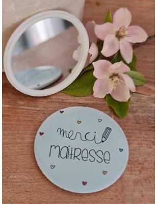 """Miroir """"Merci maîtresse"""" bleu"""