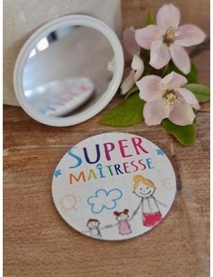"Miroir ""Super maîtresse"" blanc"