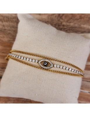 Bracelet œil couleur or