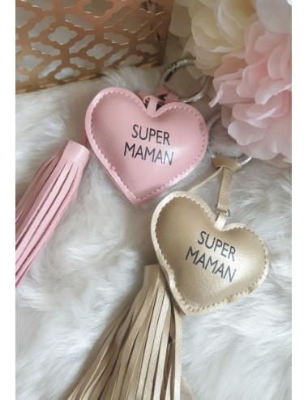 """Porte-clés cœur """"Super maman"""""""