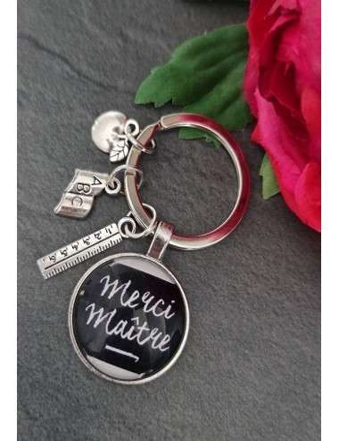 "Porte-clés ""Merci maître"" noir"