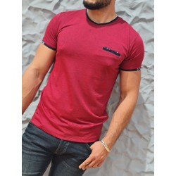 Tee-shirt manches courtes Benson and Cherry Tenenan rouge, avec col rond