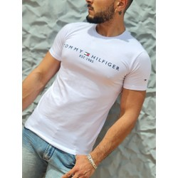 Tee-shirt manches courtes Tommy Hilfiger Mateo blanc, avec col rond