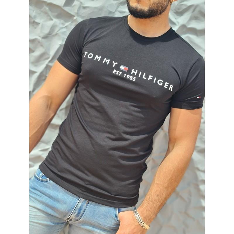 Tee-shirt manches courtes Tommy Hilfiger Mateo noir, avec col rond