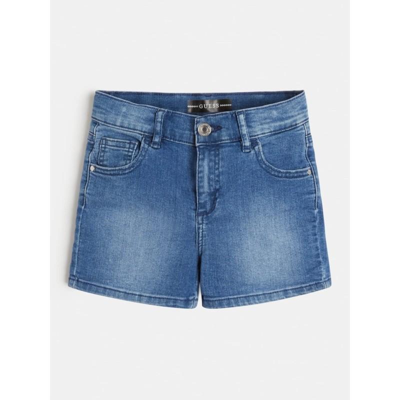 Short en  jean bleu Guess Ulysse avec effet délavé