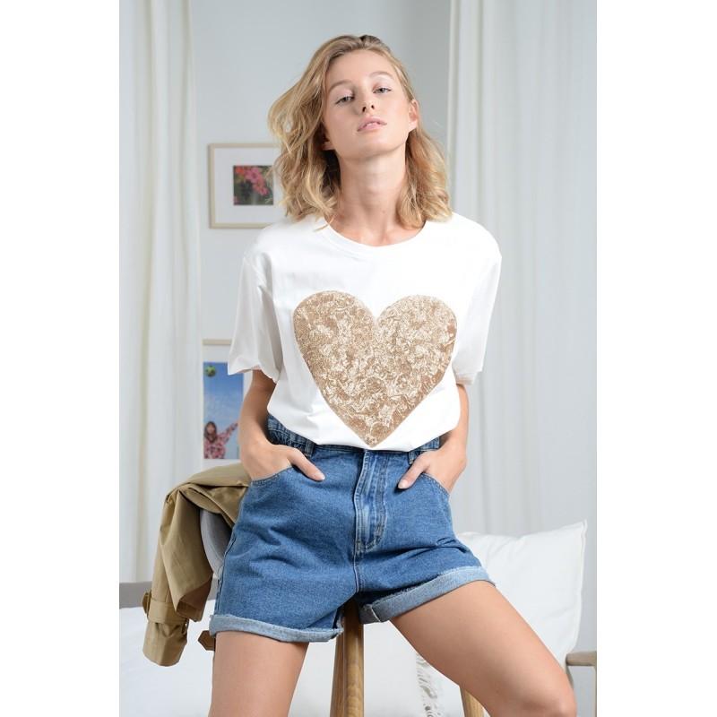 Tee-shirt manches courtes Molly Bracken Aria blanc avec cœur en sequins