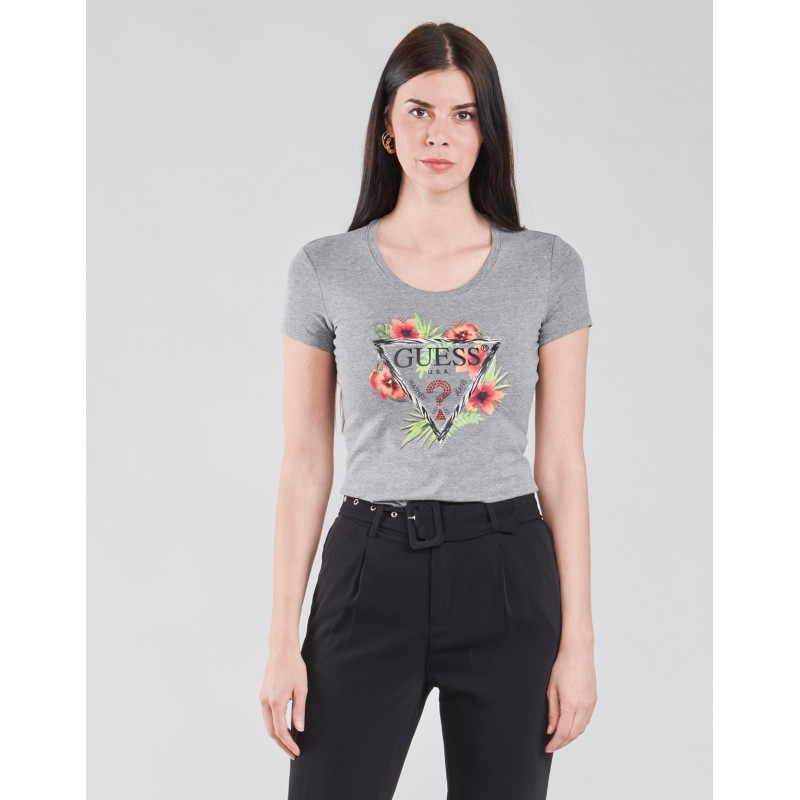 Tee-shirt Guess Nerys manches courtes gris avec strass