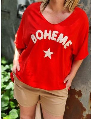 """Tee-shirt ample manches courtes """"Bohème"""" rouge avec étoile"""