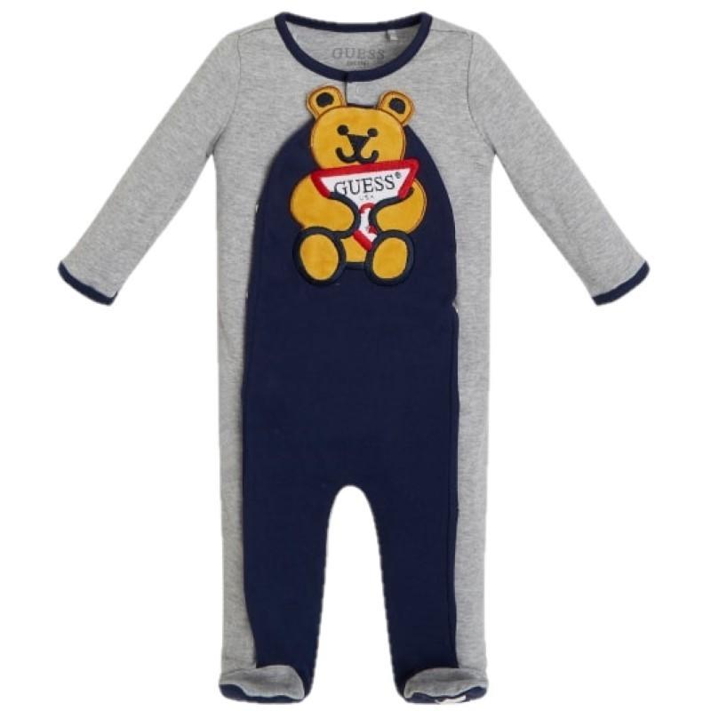 Pyjama Guess Soan gris et bleu marine avec ourson