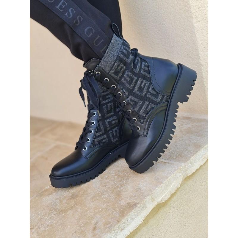 Bottines Guess Olinia noires style rangers avec effet chaussette