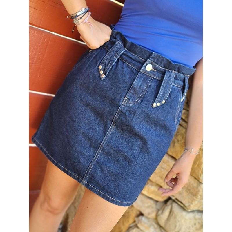 Jupe courte en jean taille haute Morgan Joly bleu foncé