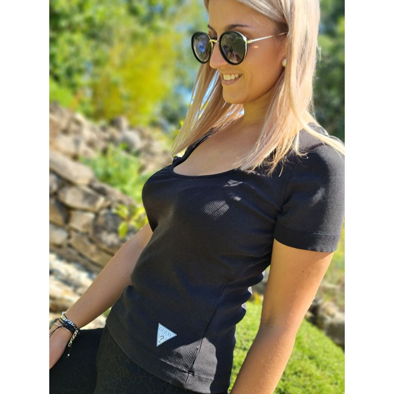 Tee-shirt Guess Line manches courtes noir avec col rond et strass