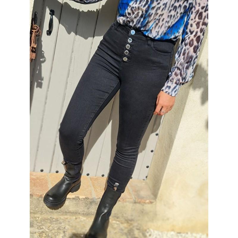 Jeans skinny Morgan Pblack noir taille haute