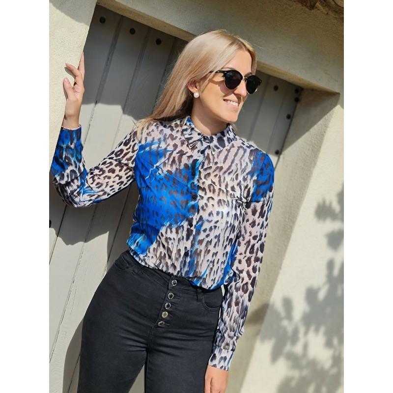 Chemise Guess Pila manches longues motif léopard beige avec taches bleues