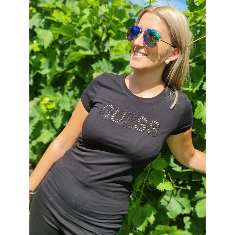 Tee-shirt Guess Pyta manches courtes noir avec broderie ajourée