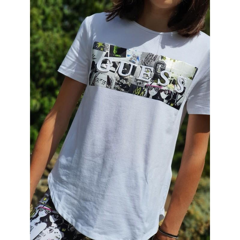 Tee-shirt manches courtes Guess Tinda blanc avec dessins de bandes dessinées