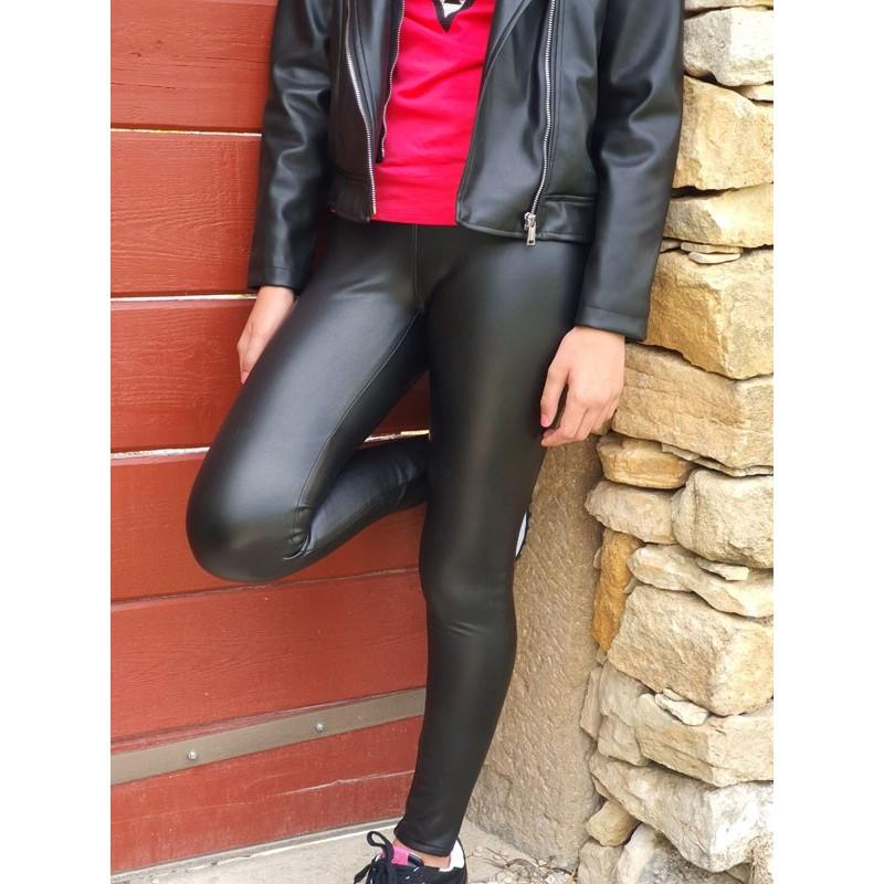 Legging Guess Toula noir en simili cuir