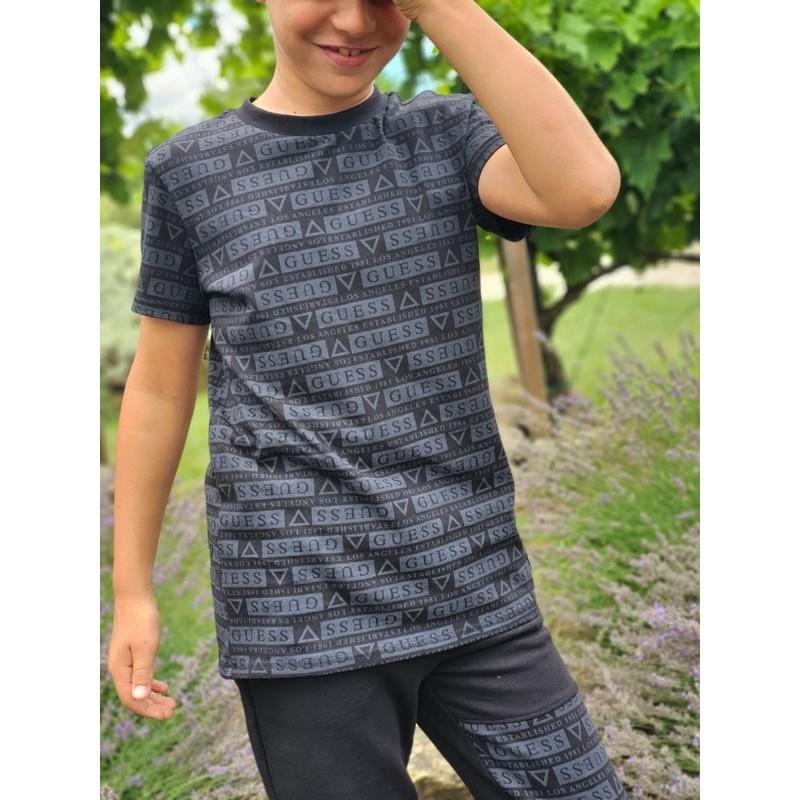 Tee-shirt manches courtes Guess Joey noir avec inscriptions
