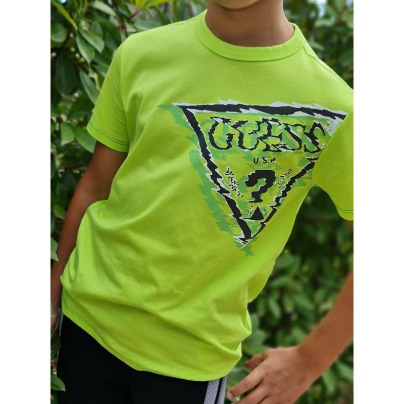 Tee-shirt manches courtes Guess Jessi vert fluo avec logo triangle Guess en zig zag