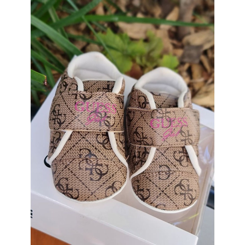 Chaussures souples Guess Camelia marron avec logo 4G et scratch