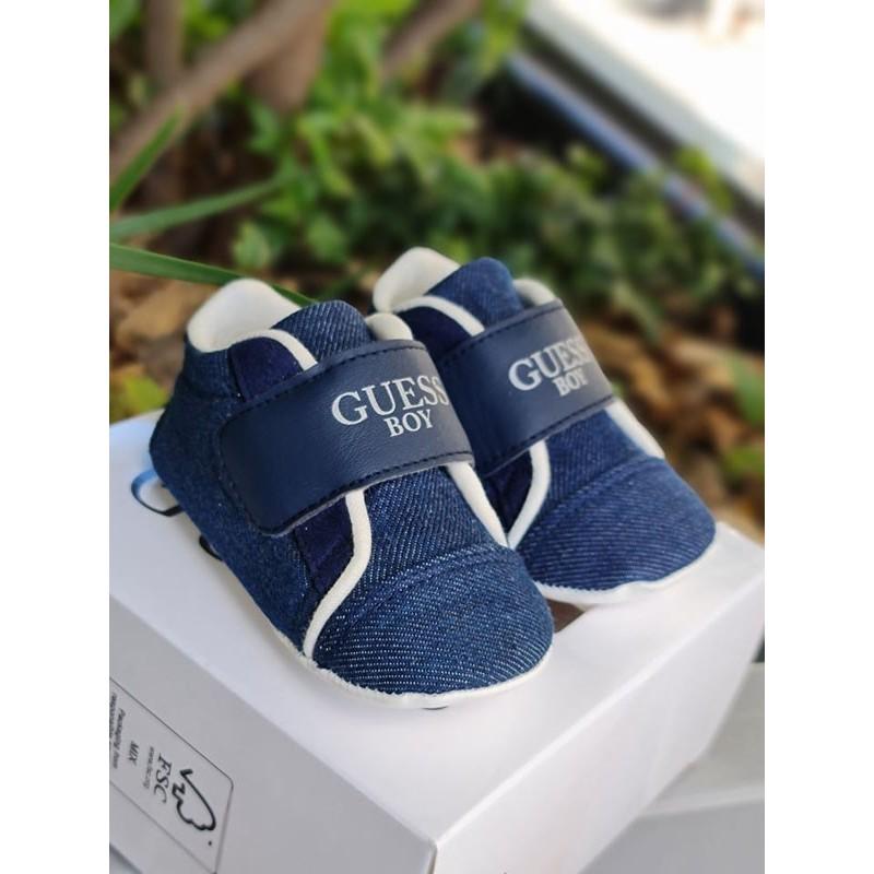 Chaussures souples Guess Camille bleues effet jean avec scratch