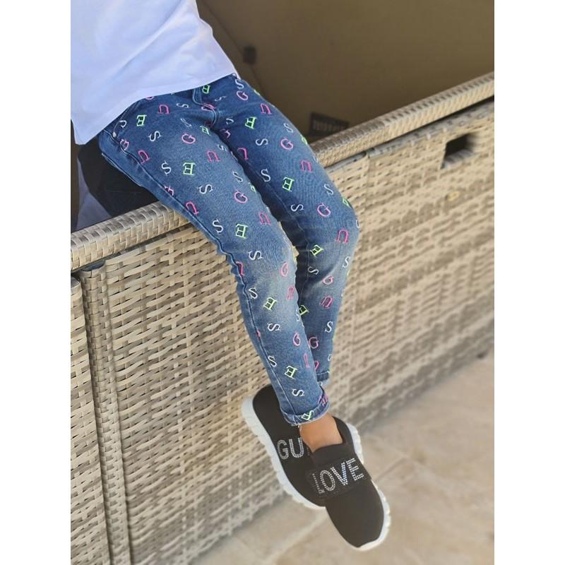 Jeans skinny Guess Lenaya bleu aves lettres Guess brodées
