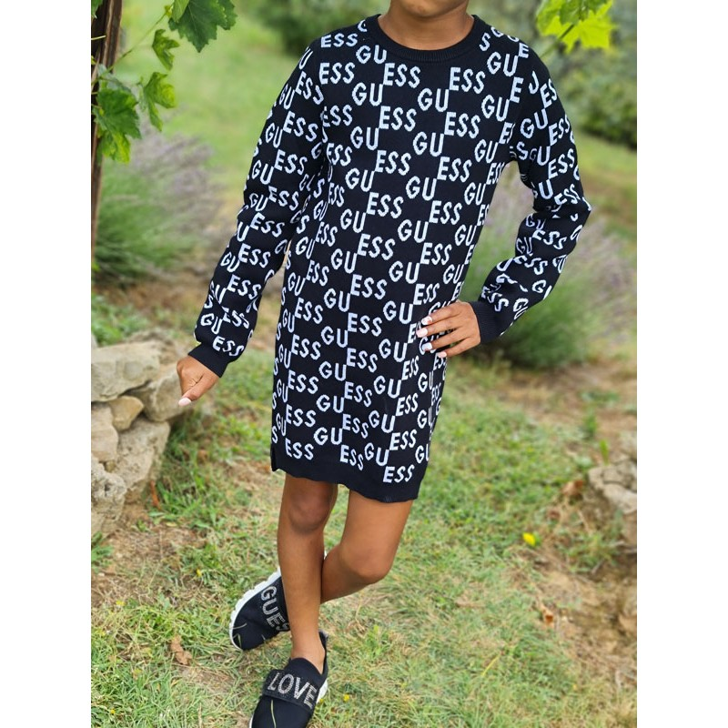 Robe manches longues Guess Aya noire aves inscriptions Guess