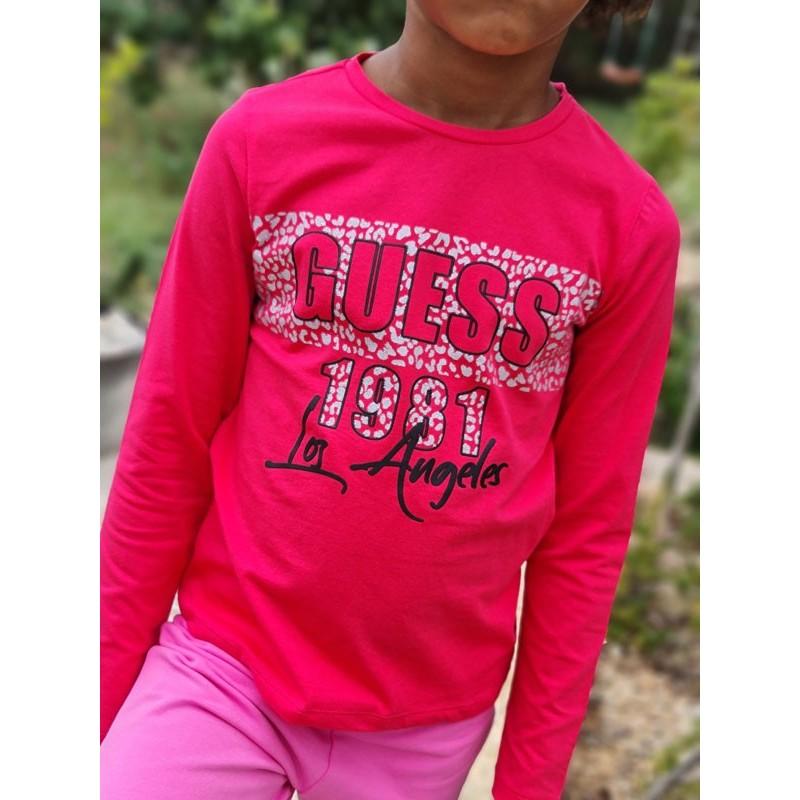 Tee-shirt manches longues Guess Yalla fuchsia avec motif léopard argenté pailleté