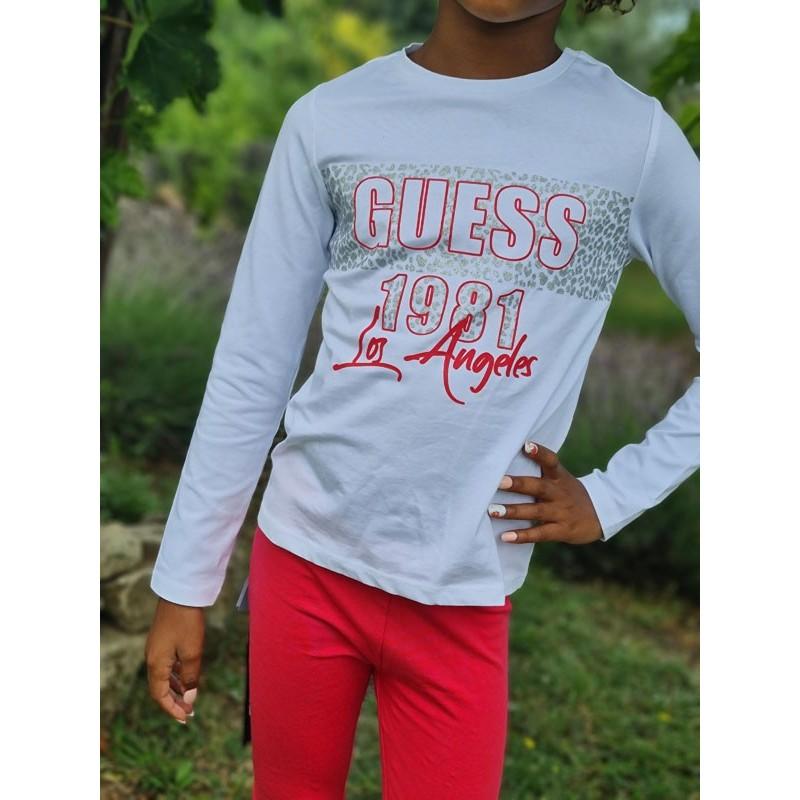 Tee-shirt manches longues Guess Yalla blanc avec motif léopard argenté pailleté