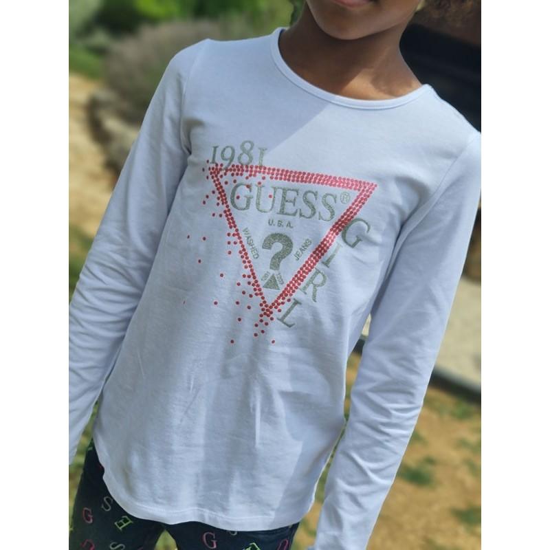 Tee-shirt manches longues Guess Yuma blanc avec logo triangle Guess pailleté