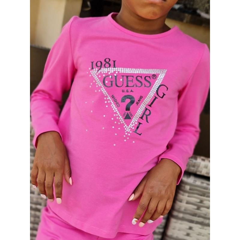 Tee-shirt manches longues Guess Yuma rose avec logo triangle Guess pailleté
