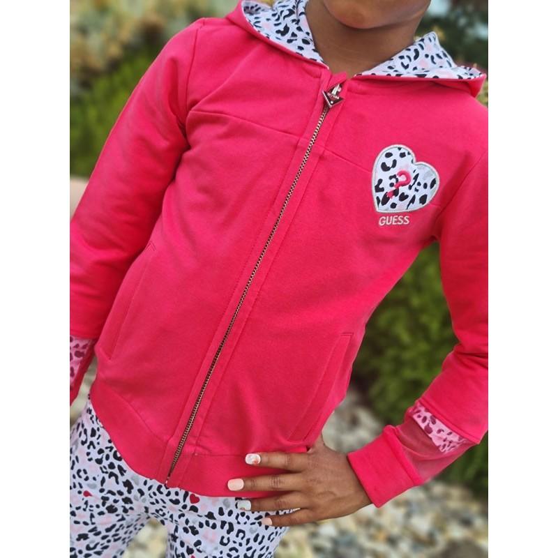 Veste à capuche Guess Yria fuchsia avec détail motif léopard