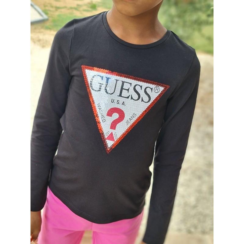 Tee-shirt manches longues Guess Allina noir avec sequins