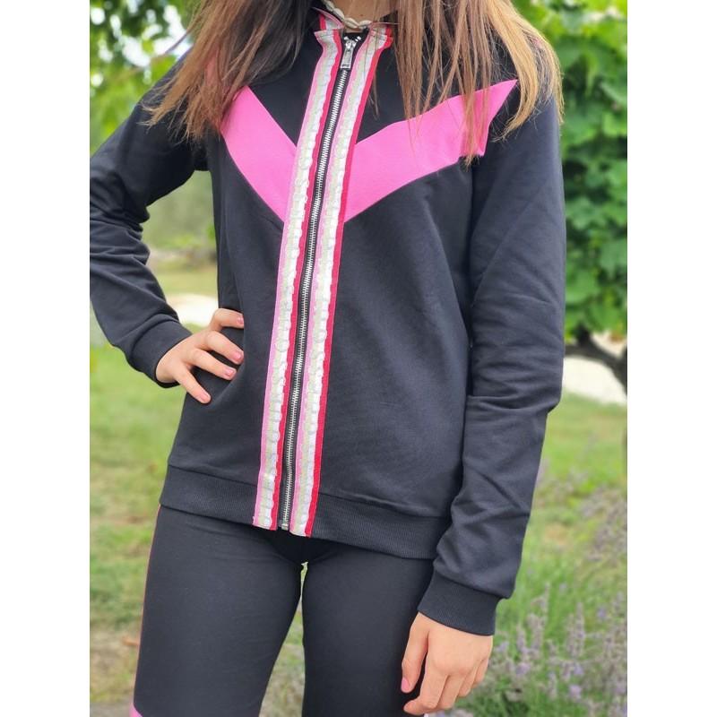 Veste à capuche Guess Leana noir avec bandes colorées