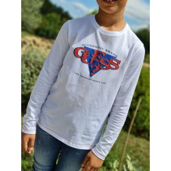 Tee-shirt manches longues Guess Gaby blanc avec coutures rouge