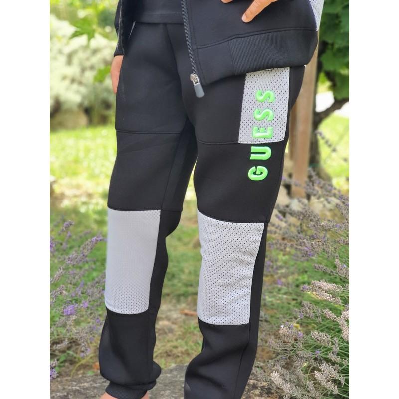 Jogging Guess Joty noir avec empiècements gris micro-perforés
