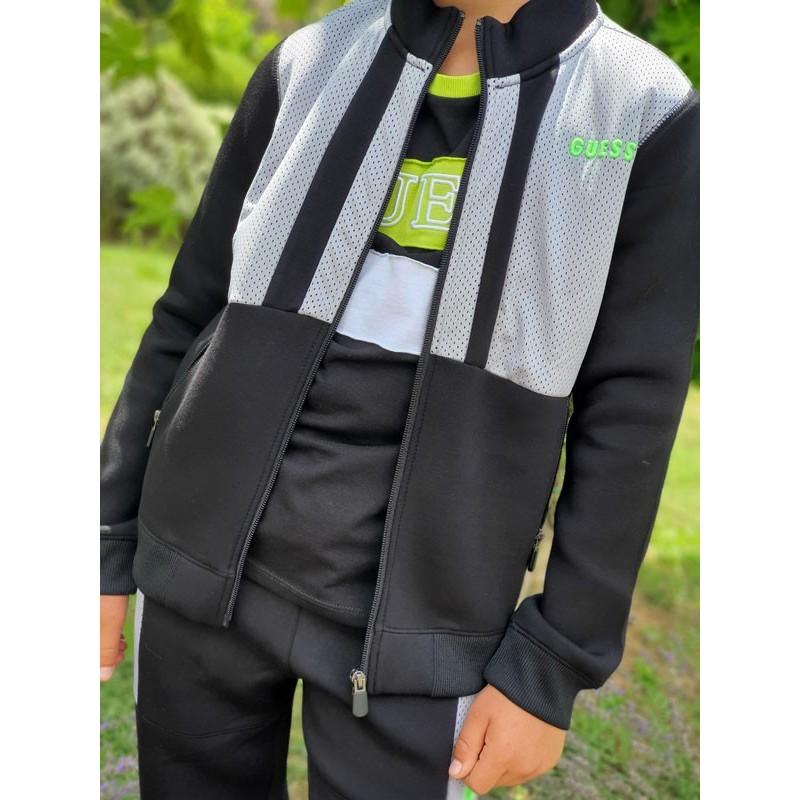 Veste Guess Joty noire avec empiècements gris micro-perforés