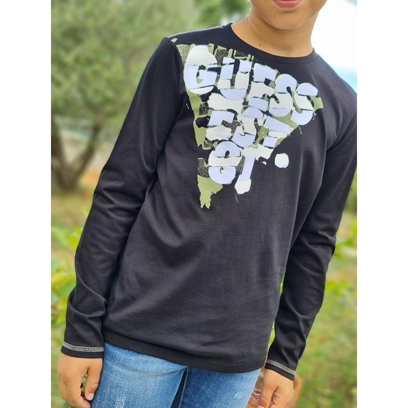 Tee-shirt manches longues Guess Gatibe noir avec col rond