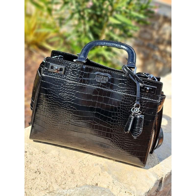 Grand sac à main Guess Katey imprimé croco noir