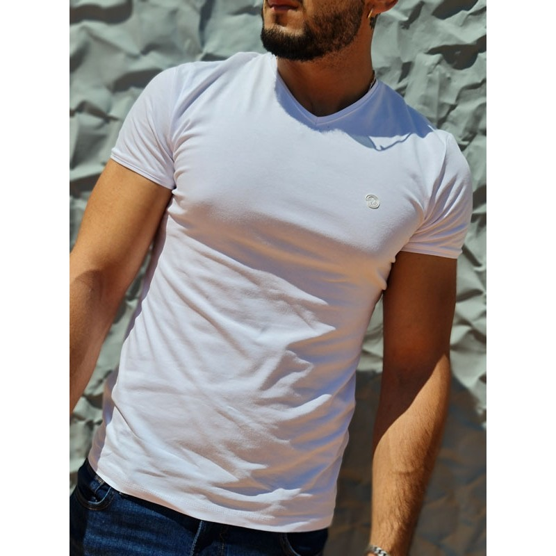 Tee-shirt manches courtes Benson and Cherry Tahys blanc avec col V