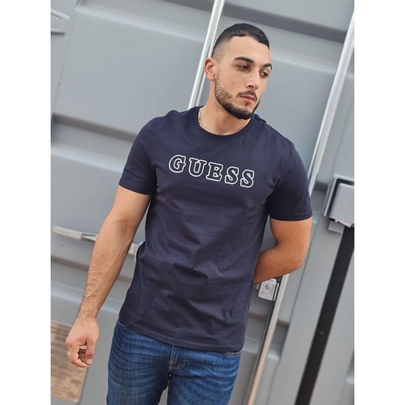 Tee-shirt manches courtes Guess Polux bleu marine avec col rond