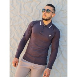 Polo manches courtes Guess Remy gris anthracite