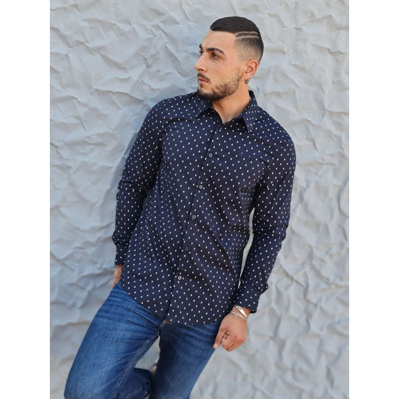 Chemise manches longues Guess Tomi bleu marine