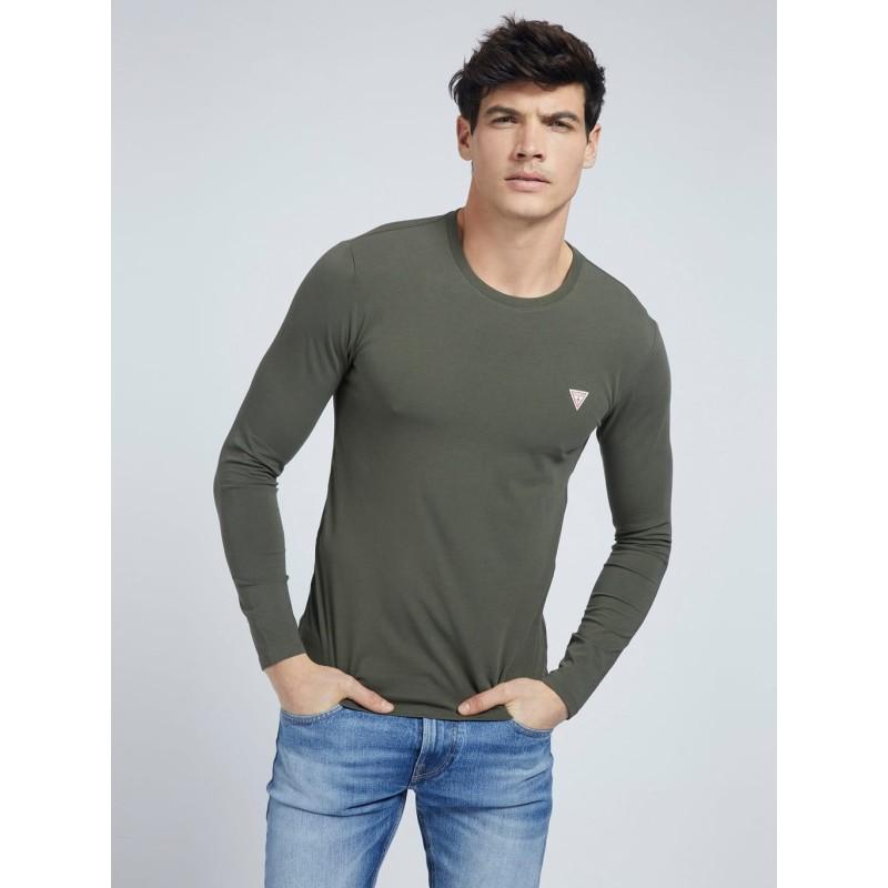 Tee-shirt Guess basique Fabien kaki manches longues