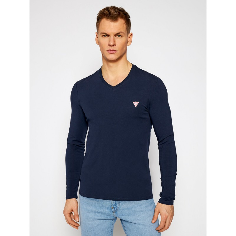 Tee-shirt Guess basique Fabio bleu marine manches longues