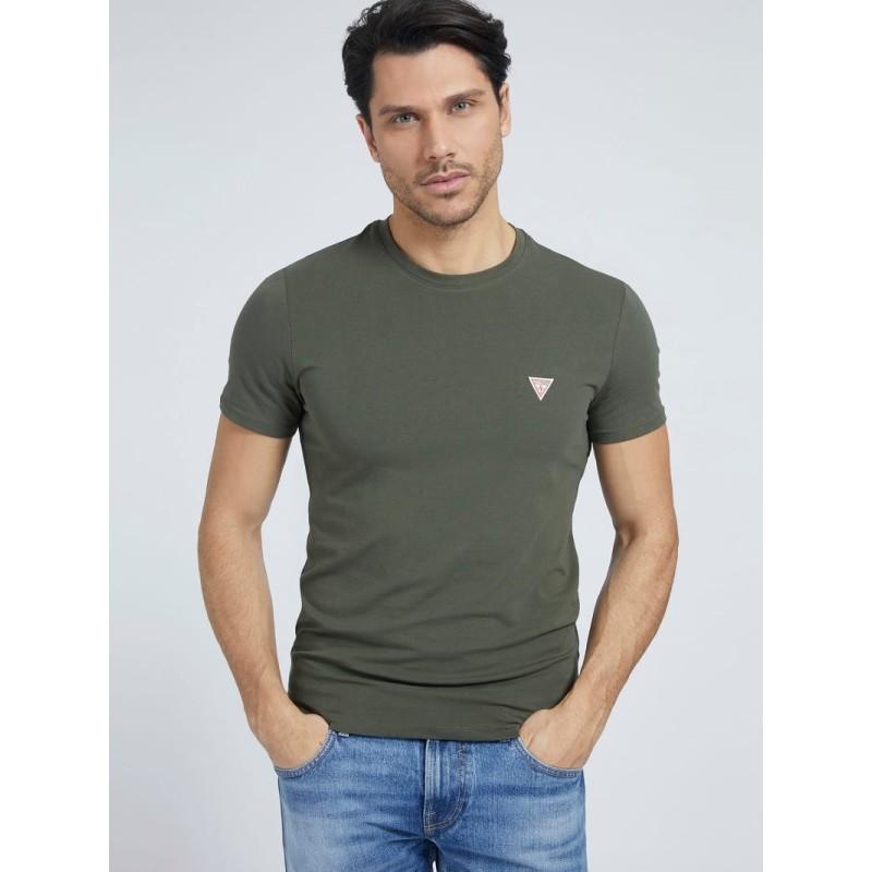 Tee-shirt Guess basique Ferran kaki manches courtes
