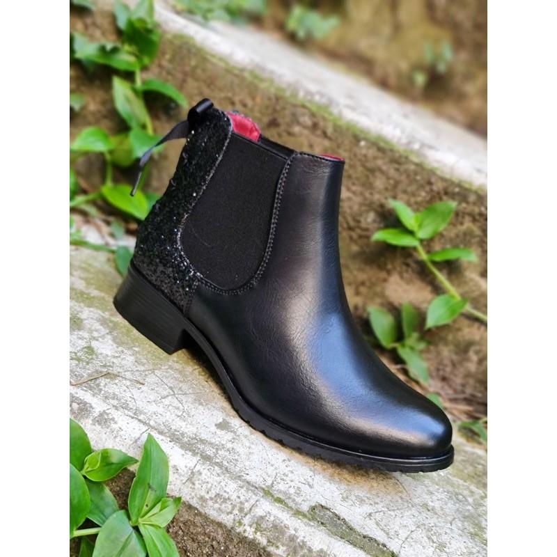 bottines Alba noires avec contrefort pailleté et lacet