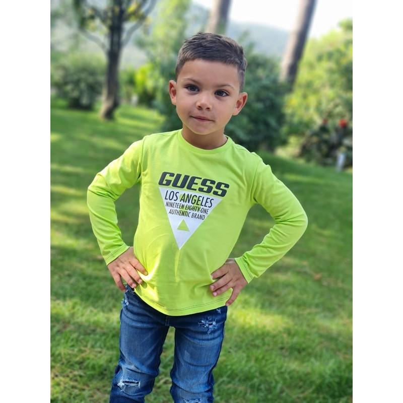 Tee-shirt manches longues Guess Valla vert fluo avec col rond